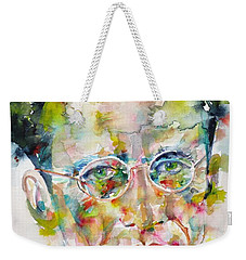 Weekender Tote Bag featuring the painting Erwin Schrodinger - Watercolor Portrait by Fabrizio Cassetta