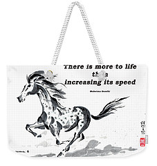 Weekender Tote Bag featuring the painting Escape With Gandhi Quote  by Bill Searle