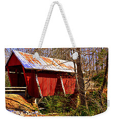 Weekender Tote Bag featuring the photograph Est. 1909 Campbell's Covered Bridge by Lisa Wooten