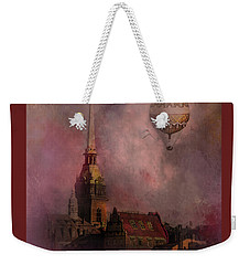 Weekender Tote Bag featuring the digital art Stockholm Church With Flying Balloon by Jeff Burgess