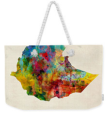 Weekender Tote Bag featuring the digital art Ethiopia Watercolor Map by Michael Tompsett