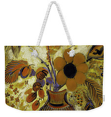 Weekender Tote Bag featuring the painting Etrusian Vase With Flowers by Odilon Redon