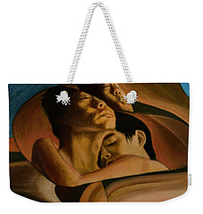 Weekender Tote Bag featuring the painting Eudemonic by Ron Richard Baviello