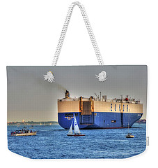 Weekender Tote Bag featuring the photograph Eukor Car Carrier Ship - Boston Harbor by Joann Vitali