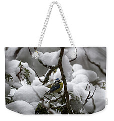 Eurasian Blue Tit In Winter 22 Weekender Tote Bag