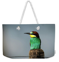 Weekender Tote Bag featuring the photograph European Bee Eater by Wolfgang Vogt