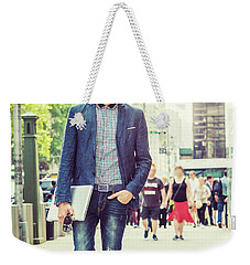European College Student Studying In New York Weekender Tote Bag