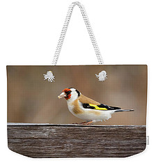 Weekender Tote Bag featuring the photograph European Goldfinch In Kenosha by Ricky L Jones