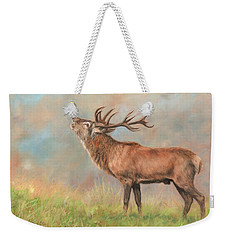 Weekender Tote Bag featuring the painting European Red Deer by David Stribbling