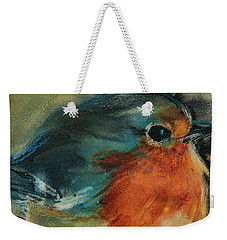 Weekender Tote Bag featuring the painting European Robin 2 by Jani Freimann