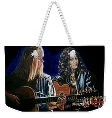 Weekender Tote Bag featuring the painting Eva Cassidy And Katie Melua by Bryan Bustard