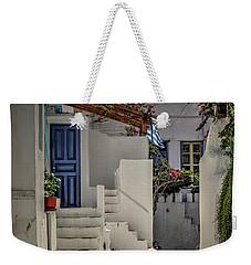Weekender Tote Bag featuring the photograph Eva's Garden Cafe Mykonos by Tom Prendergast