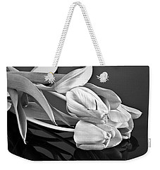 Even Tulips Are Beautiful In Black And White Weekender Tote Bag by Sherry Hallemeier