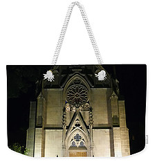 Weekender Tote Bag featuring the photograph Evening At Loretto Chapel Santa Fe by Kurt Van Wagner