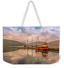 Weekender Tote Bag featuring the photograph Evening At The Dock by Roy McPeak