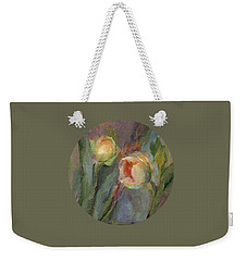 Weekender Tote Bag featuring the painting Evening Bloom by Mary Wolf