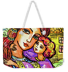 Weekender Tote Bag featuring the painting Evening Church by Eva Campbell