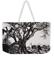Weekender Tote Bag featuring the drawing Evening In Midnapore by Anna  Duyunova