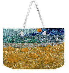 Weekender Tote Bag featuring the painting Evening Landscape With Rising Moon by Van Gogh
