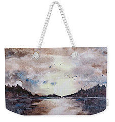 Weekender Tote Bag featuring the painting Evening Light by Geni Gorani