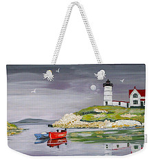 Weekender Tote Bag featuring the painting Evening Lighthouse by Phyllis Kaltenbach