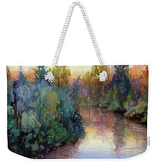 Weekender Tote Bag featuring the painting Evening On The Willamette by Steve Henderson