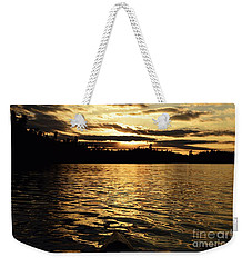 Weekender Tote Bag featuring the photograph Evening Paddle On Amoeber Lake by Larry Ricker