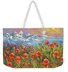 Weekender Tote Bag featuring the painting Evening Poppies  by Dmitry Spiros