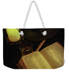 Weekender Tote Bag featuring the photograph Evening Reading by Ann Lauwers