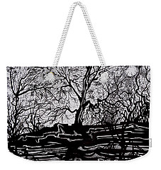 Weekender Tote Bag featuring the drawing Evening Sun Of Waterton by Anna  Duyunova