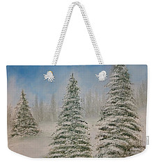 Evergreens In Snow  Weekender Tote Bag