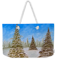 Evergreens In Snowy Field Enhanced Colors Weekender Tote Bag