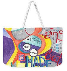 Weekender Tote Bag featuring the painting Every Dream Begins by Erin Fickert-Rowland