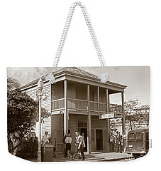 Weekender Tote Bag featuring the photograph Everyone Says Hi - From Pepes Cafe Key West Florida by John Stephens