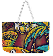 Weekender Tote Bag featuring the painting Exotic East, Coffee And Olive Oil by Leon Zernitsky