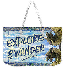 Explore And Wander Notre Dame Cathedral Gargoyle Paris Weekender Tote Bag