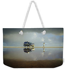 Exploring The Beach On A Rainy Day Weekender Tote Bag