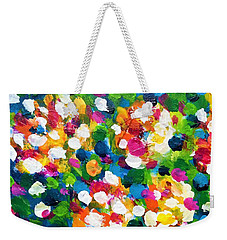 Weekender Tote Bag featuring the painting Explosion Of Colors by Cristina Stefan