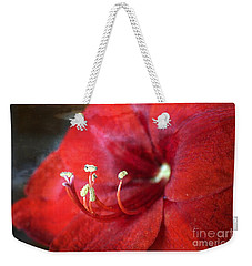 Weekender Tote Bag featuring the photograph Extrovert Red Floral Abstract by Ella Kaye Dickey