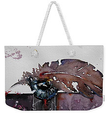 Weekender Tote Bag featuring the painting Eye Feather by Geni Gorani