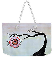 Weekender Tote Bag featuring the painting Eye Heart On Fire by Edwin Alverio