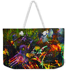 Weekender Tote Bag featuring the painting Eye In Chaos by Claire Bull