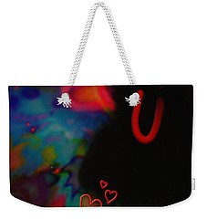 Weekender Tote Bag featuring the mixed media Eye Love U by Kevin Caudill