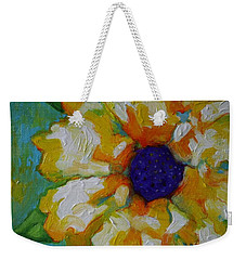 Weekender Tote Bag featuring the painting Eye Of The Flower by Alison Caltrider