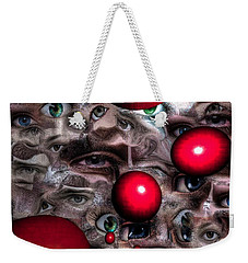 Weekender Tote Bag featuring the mixed media Eyes Around Us by Yury Bashkin