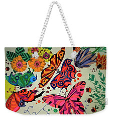 Weekender Tote Bag featuring the painting Eyes Of The Butterflies by Alison Caltrider