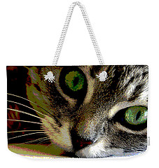 Weekender Tote Bag featuring the mixed media Eyes Of The Cat by Charles Shoup