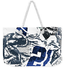Weekender Tote Bag featuring the mixed media Ezekiel Elliott Dallas Cowboys Pixel Art 6 by Joe Hamilton