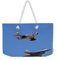 F-16 P-51d F-86 Heritage Flight- Flyby Weekender Tote Bag