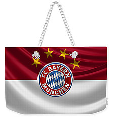 F C Bayern Munich - 3 D Badge Over Flag Weekender Tote Bag